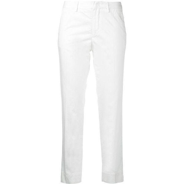 Pt01 Cropped Trousers ($155) ❤ liked on Polyvore featuring pants, capris, cropped trousers, white pants, cropped pants, white cropped trousers and cropped capri pants