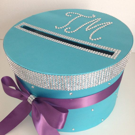 Hey, I found this really awesome Etsy listing at https://www.etsy.com/listing/183995789/wedding-cards-box-tiffany-blue-purple