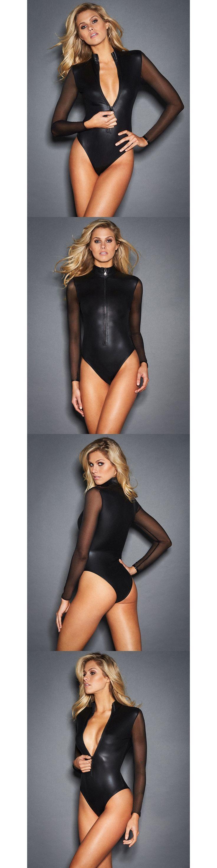 2017 New Plus Size Sexy Black Vinyl Catsuit Lingerie Mesh Long Sleeve Zipper Front Erotic Leotard Wet Look Faux Leather Bodysuit