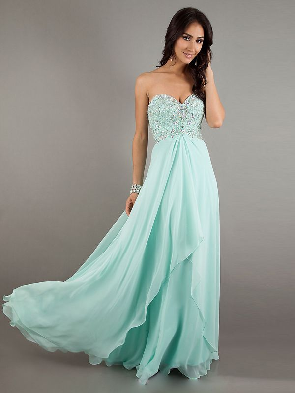 A-line Sweetheart Sleeveless Floor-length Chiffon Prom Dress #WX970