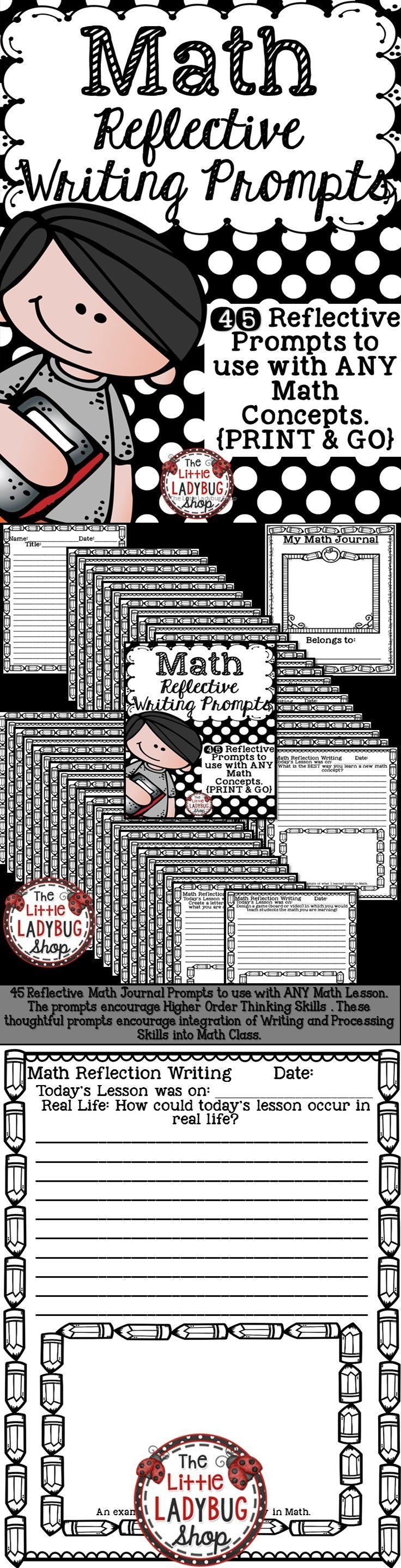 Math Prompts | Math Reflective Writing | Math Reflection Writing | Math Higher…                                                                                                                                                                                 More