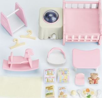 Sylvanian Nightlight Nursery Set `One size Details : 1 baby double bed, 1 rocking horse, 1 table(s), 1 chair, 1 night lamp, 14 other accessories, LR03 not included Age 4 and upwards Plastic Box Width : 6 cm Height : 20 cm Depth : 17 cm Do not  http://www.comparestoreprices.co.uk/january-2017-7/sylvanian-nightlight-nursery-set-one-size.asp