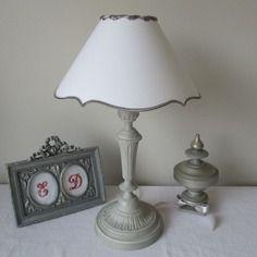 Jolie lampe en metal - gris patine - abat-jour liberty coloris au choix - fait main