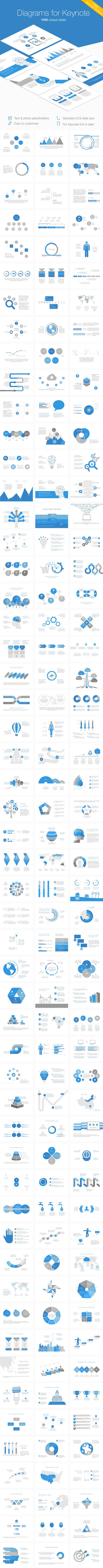 The diagram set for Keynote offers a collection of 1150 slides with sleek and easily customizable data visualization tools for your exclusive presentations • Available here → http://graphicriver.net/item/diagrams-for-keynote/7819805?s_rank=64&ref=pxcr