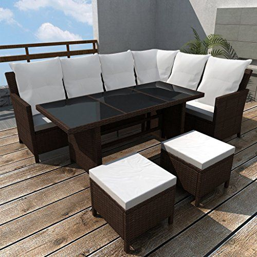 Vintage Anself Poly Rattan Garden Sofa Lounge Set Corner Sofa Table Outdoor Furniture Brown Pcs