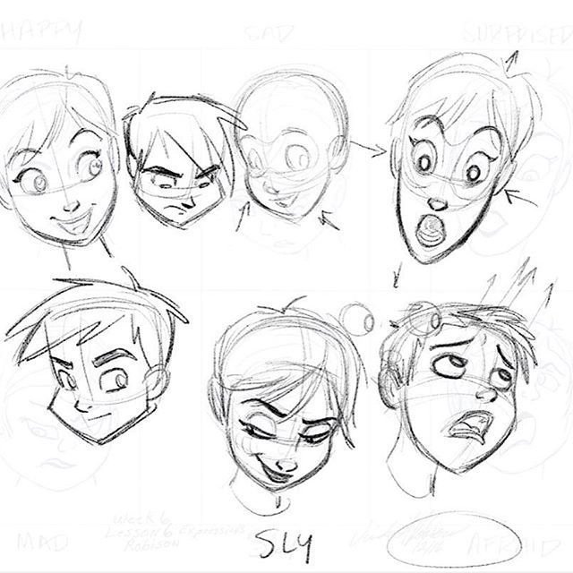 I did an online 40 day Character Design Course via my company @taught_by_a_pro and this was a draw over where I was discussing #squashandstretch in the face and expressions. #characterdesign