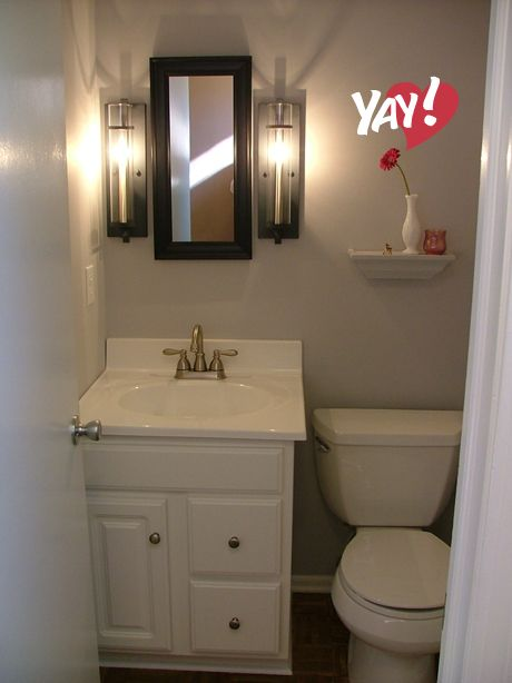 10 best half bath images on pinterest bathroom bathroom for Half bath remodel ideas