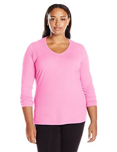 Just My Size Women's Plus Vneck Long Sleeve Tee, Pink Swish, 3X  Special Offer: $7.35  399 Reviews Here's your go-to tee for everyday comfort, available in lots of lush colors at a value.Super-soft premium cotton feels great against your skinStylish, feminine v-neck...