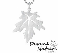 """Maple""  Sterling silver pendant. Sterling silver ball chain enclosed."