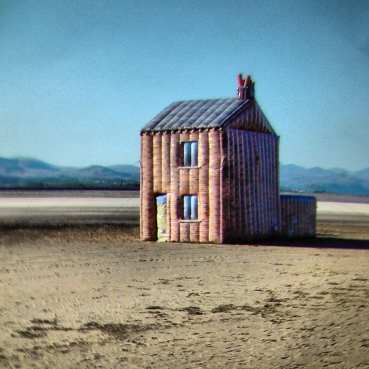 Blow-up terraced house from Barrow-in-Furness on the beach at Sandscale Haws