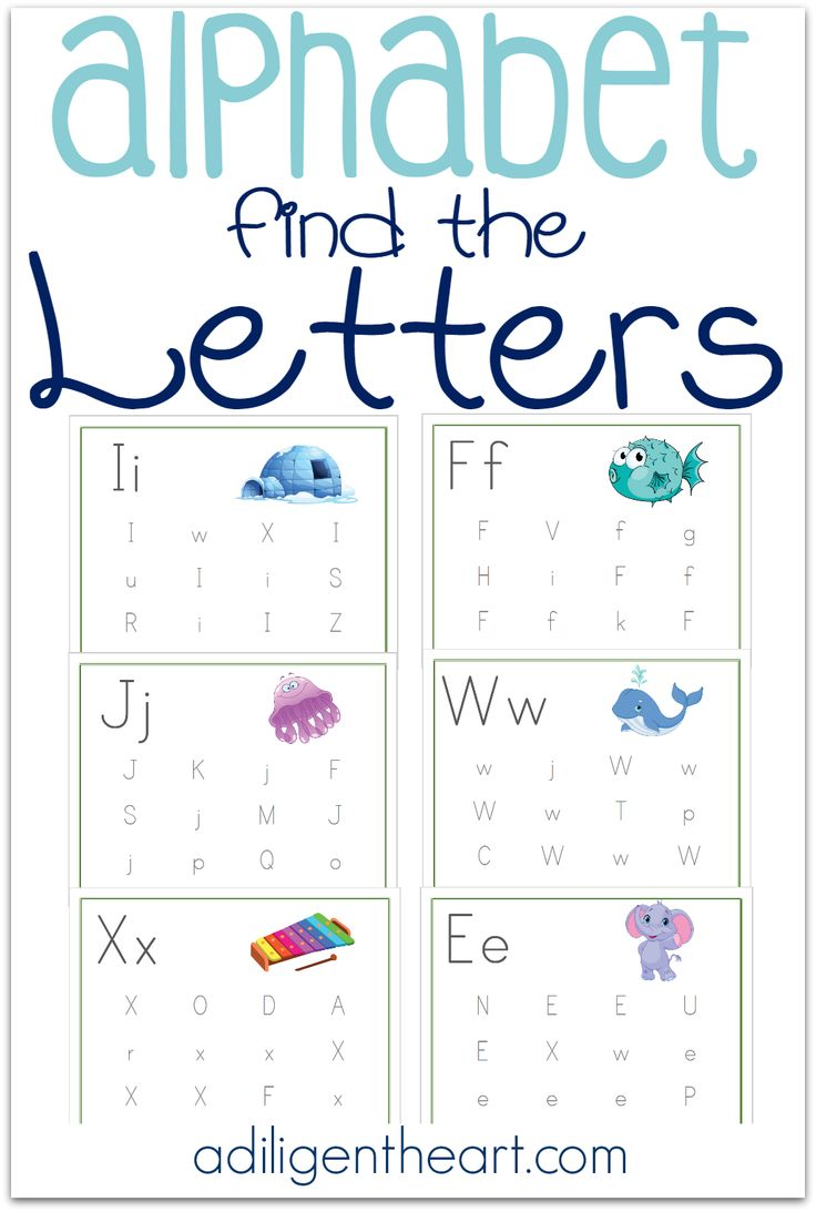 These Alphabet Find the Letters Pages are a great resource for your early learner. Perfect for your Preschooler or Kindergartner!  Alphabet Find the Letters Free Printable Pack I adiligentheart.com
