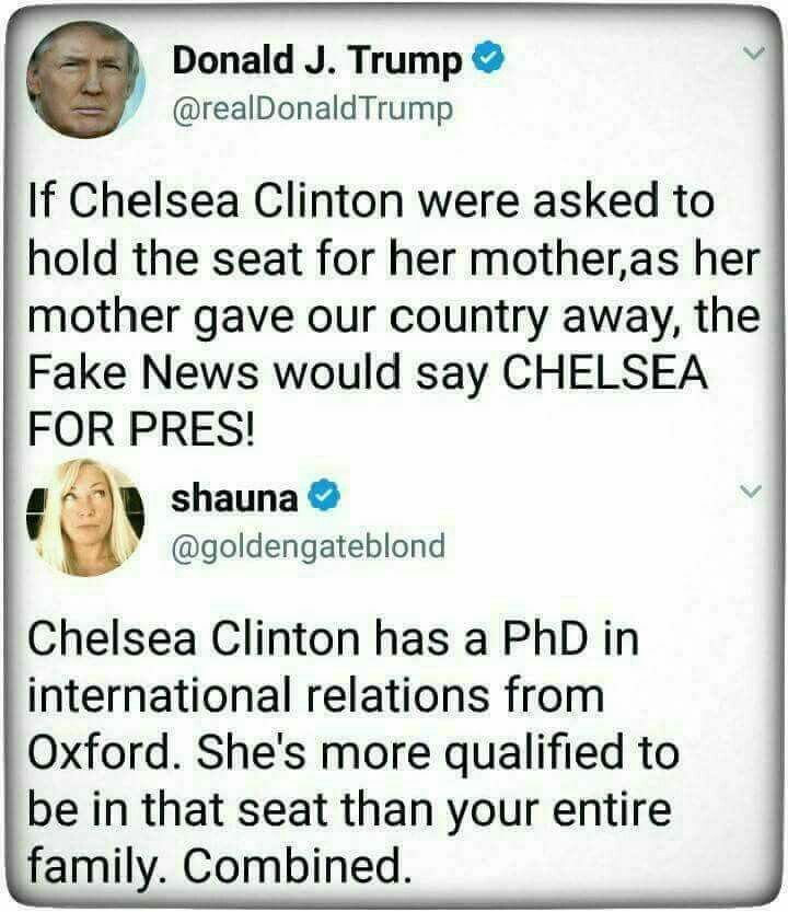 Ivanka wasn't elected and is absolutely unqualified to fill-in for her father. Trump's unqualified and willfully ignorant as well, but at least he was elected. Ivanka is neither qualified, nor was she elected, so she has no business filling in for her father. This isn't a monarchy.