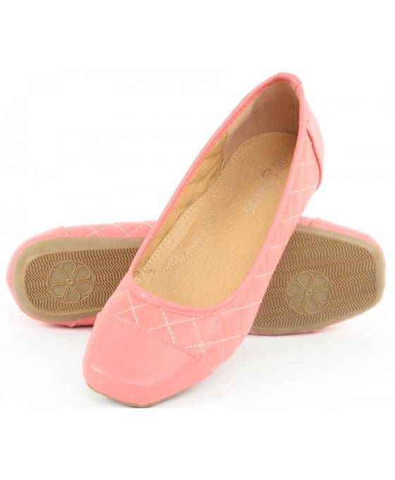 Shopo.in : Buy Estatos Synthetic Leather Quilted Flat Comfortable Pink/peach Bellerina/shoes online at best price in New Delhi, India