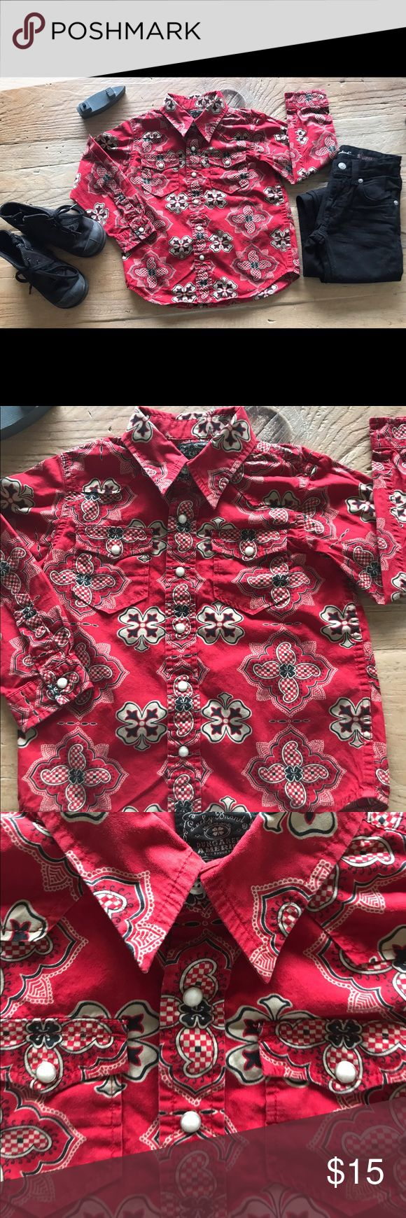Lucky Brand Toddler Boys Button Down Shirt - SZ4 Sorry to see this one go! Super cute Western pearly snap down shirt. Excellent used condition. Great for class photo, birthday 🎉 party or everyday wear. Superior Lucky brand quality. 100% cotton! Pet/smoke free home. Freshly washed and pressed, ready to wear!  Selling shirt only! Lucky Brand Shirts & Tops Button Down Shirts