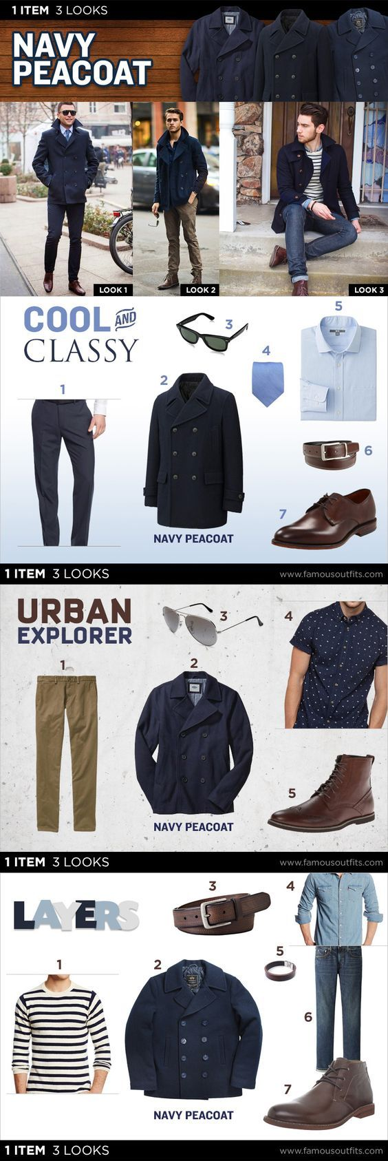 No matter if you have a Peacoat in your closet already, or are considering one as the winter season draws -- check out some great getups from Famous Outfits that take 1 item, but give you 3 looks.