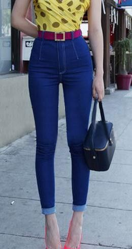 Slim Elastic Ripped High Waist Plus Size Straight Jeans