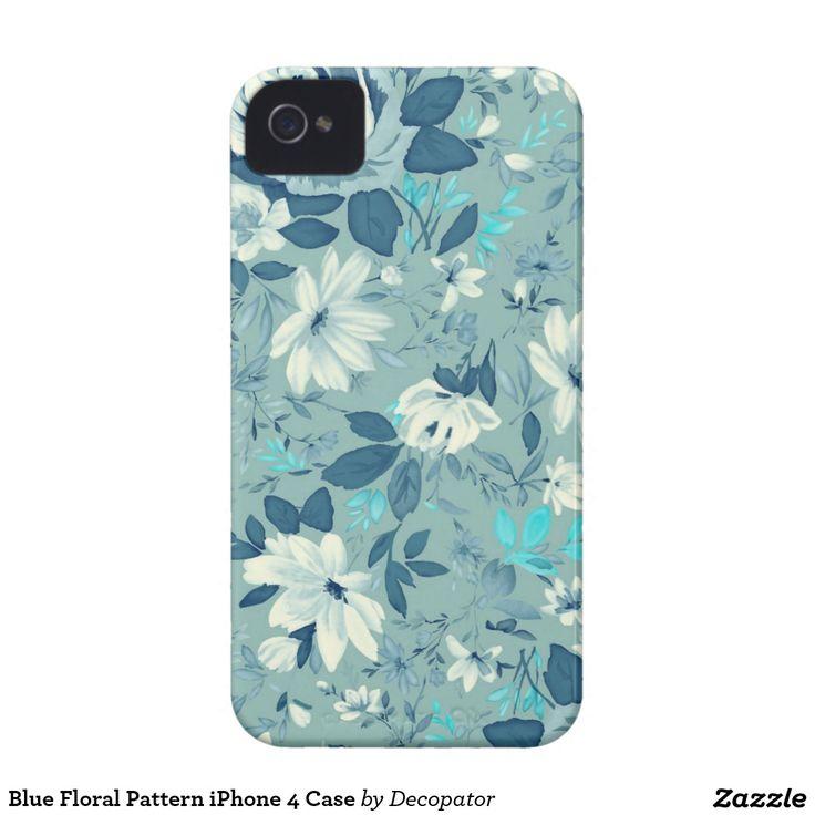 Blue Floral Pattern iPhone 4 Case