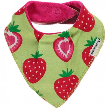 Dribble bib triangle, strawberries green, Maxomorra