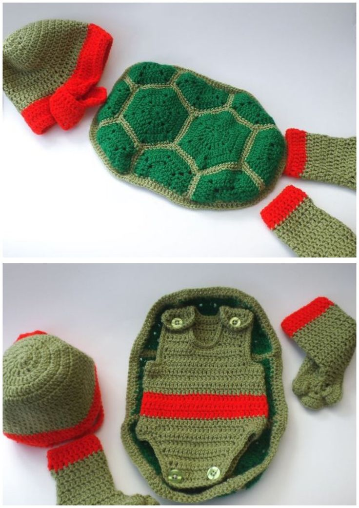 Baby's First Size Teenage Mutant Ninja Turtle Outfit Crochet Pattern                                                                                                                                                                                 More