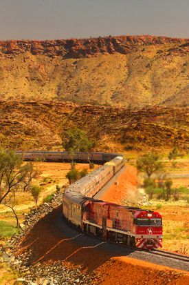 The Ghan .... The 3000km trip between Darwin and Adelaide provides glimpses of Australia's unique landscape and wildlife. I travelled on the Ghan between Adelaide and Alice Springs in 1982. Despite travelling through desert, a flood isolated us for severa
