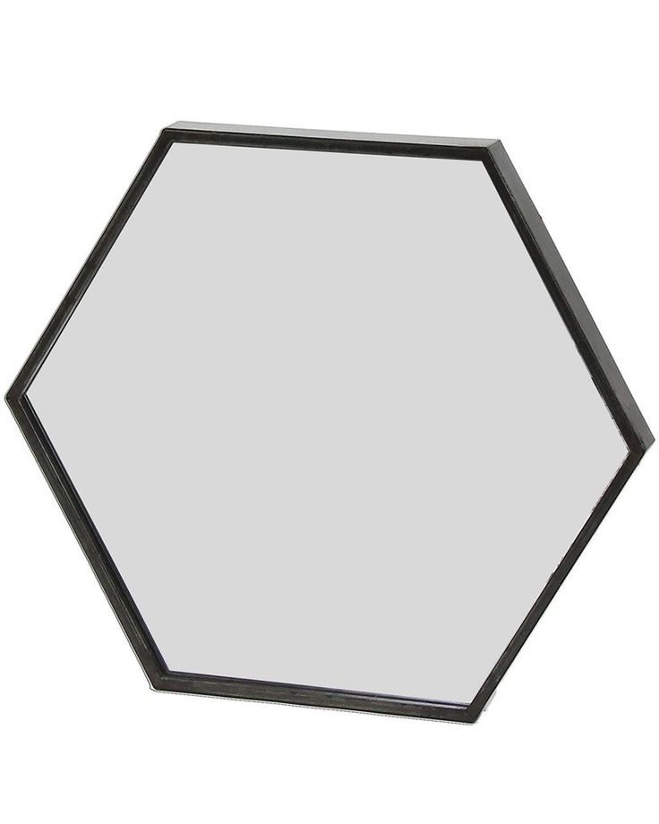 Zen - Black Hexagon Wall Mirror W:45cm, Metal, Medium | MirrorDeco