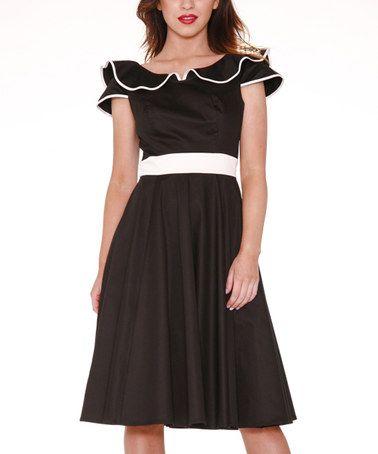 Love this Black Ruffle A-Line Dress - Women & Plus on #zulily! #zulilyfinds
