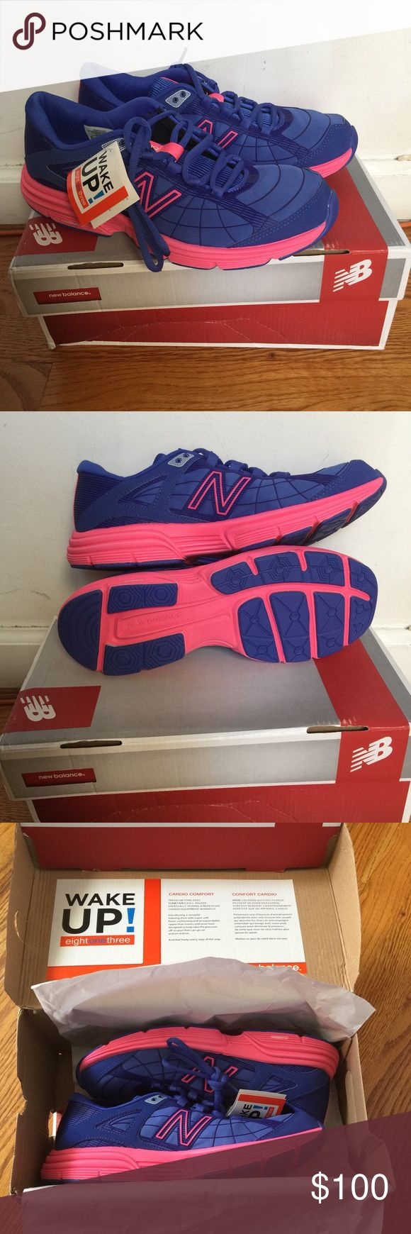 Women's New Balance Cross Training Shoes NIB 9.0 Brand new with tags and box.  Box has some damage (bottom is ripped), but shoes are fine and perfect.  Color is bluish purple.  Material is stretchy like a Spider-Man suit.  Insoles are removeable as needed.  Very soft and comfortable for working out!  Also available in size 9.5 (no box). New Balance Shoes Sneakers