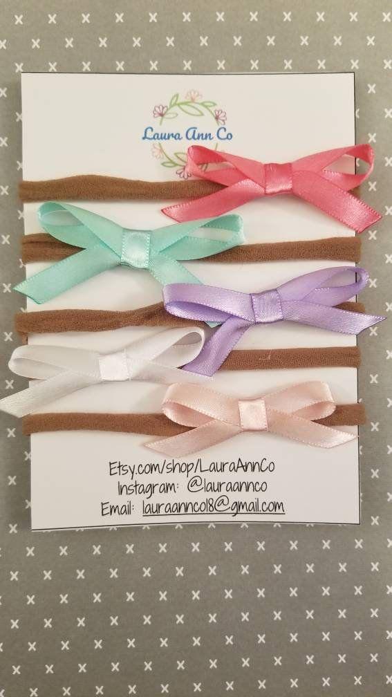 Satin Ribbon Hair Bow on Nylon Headband, Baby Headband, Baby Hair Bow, Hairbow, Ribbon Hairbow, Ribbon Bow, Baby Girl, Handmade Hairbows