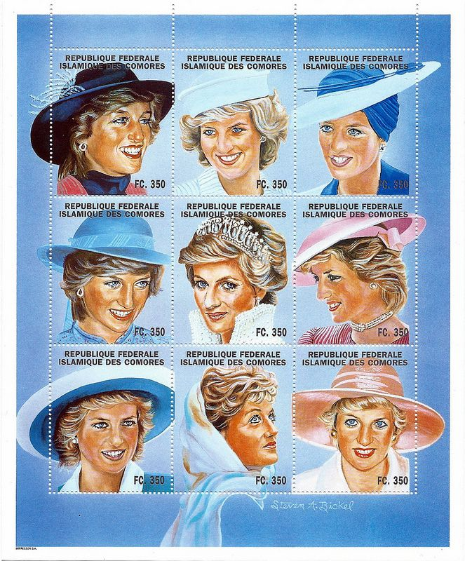 Princess Diana Postal Commemorative Sheet Issued By The Comores Islands, Diana - Princess Of Wales 1961 - 1997.