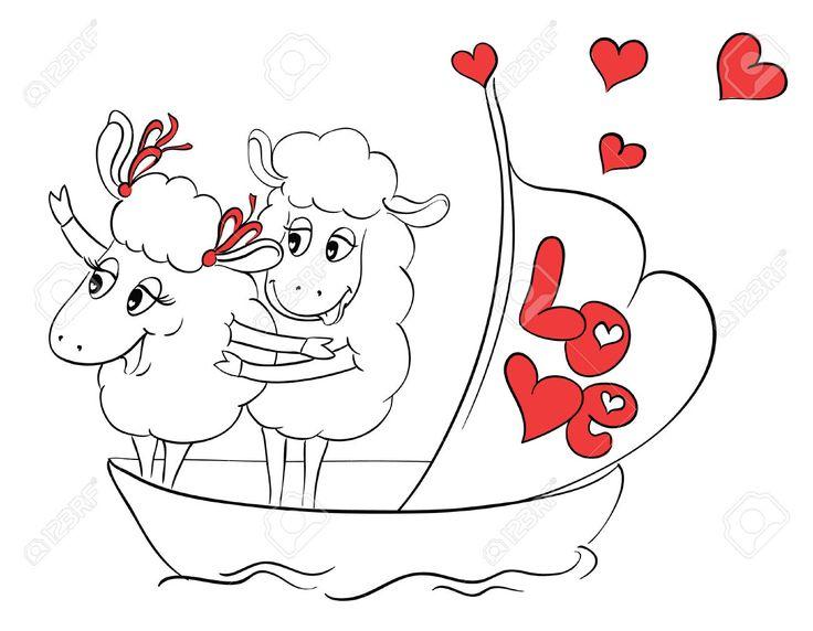 Пара в любви. Два счастливых овец в смешной позе на круизном судне лодке на каникулы праздников. Идея для поздравительной открытки с Днем свадьбы или День святого Валентина. Мультфильм каракули векторные иллюстрации Клипарты, векторы, и Набор Иллюстраций Без Оплаты Отчислений. Image 30649504.