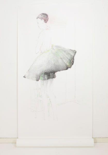 Marli Turion, Dans 1 2014, houtskool/pastel op papier 240X125 cm