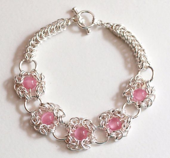 Pink Beaded Romanov and Persian Weave Chainmaille by PJsPrettys