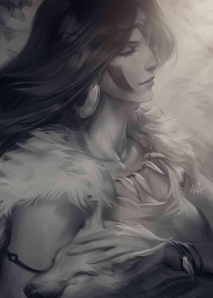 "Mononoke sketch by Artgerm.deviantart.com on @DeviantArt - San from Miyazaki's ""Princess Mononoke"""