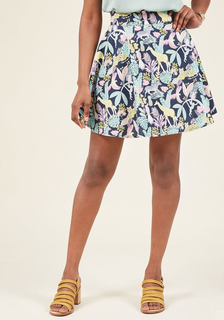 <p>Lift your spirits while scoring major style points in this navy circle skirt! A print of fresh fruit, lush foliage, and wild animals delights on this cotton garment, which brings a touch of whimsy to your everyday look. Worn with your winning smile, this quirky skirt will make your day cheery from start to finish.</p>