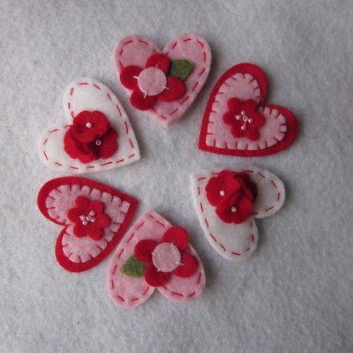 little felt hearts