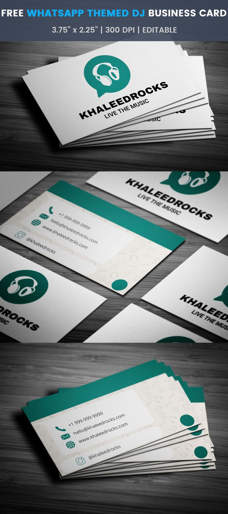 13 best free dj business cards images on pinterest free free whatsapp themed dj business card reheart Image collections