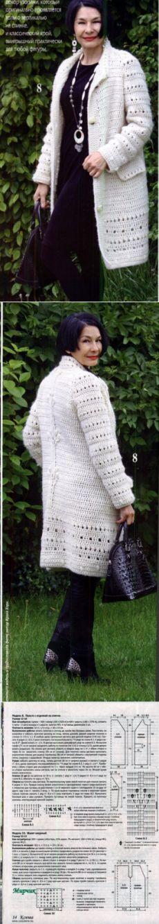 Пальто с отделкой на спине вязаное крючком. Красивое пальто крючком с описанием…