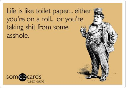 Life is like toilet paper... either you're on a roll... or you're taking shit from some asshole.
