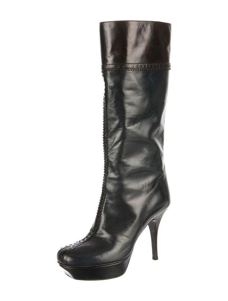 YSL YVES SAINT LAURENT Plateau Stiefel Leder Tribtoo Tribute Boots 36 37 Blue in Kleidung & Accessoires, Damenschuhe, Stiefel & Stiefeletten | eBay