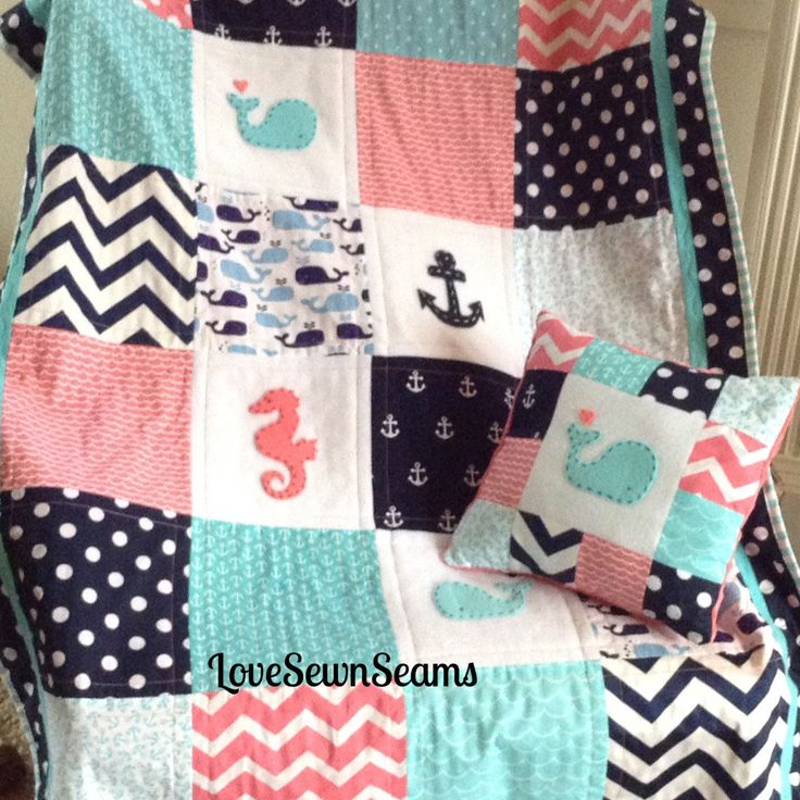 "CORAL, Navy & Teal Crib Size Nautical Quilt 38"" x 52""/Coral and Navy/Seahorse/Anchor/Whale by Lovesewnseams on Etsy"