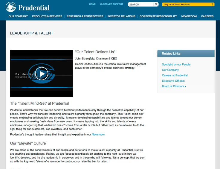 Prudential is very conservative. They prefer informational video. The first one to actively use video instead of imagery and graphics
