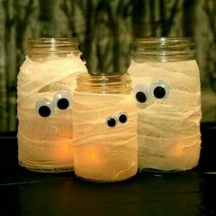 Mummy lights using cheesecloth . Cool for Halloween.