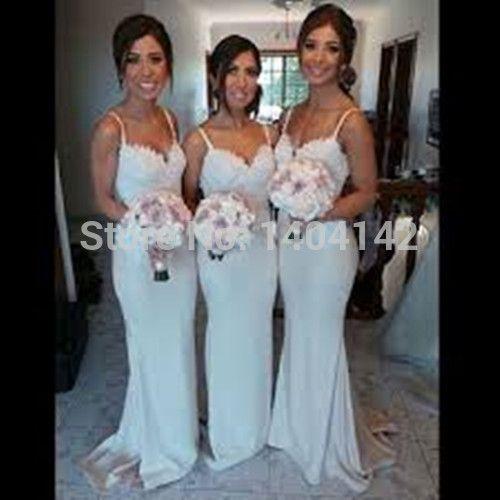 Белые кружевные аппликации милая длинные платья невесты открыть назад бретельках формальные ну вечеринку платья Vestido пункт Madrinha