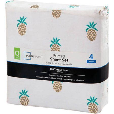 Mainstays 180 Thread Count Sheet Set, Queen, Pineapple, Multicolor