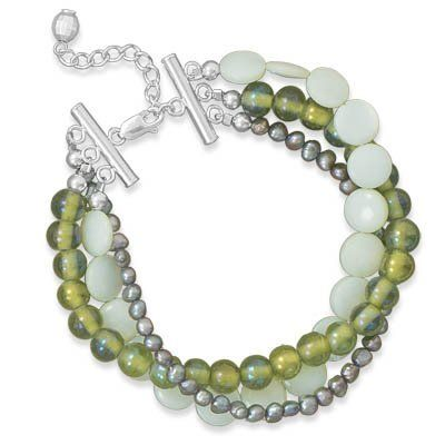 Sterling Silver 7 Inch+1 Inch Multistrand Green Shell And Glass Bracelet - JewelryWeb JewelryWeb. $73.50. Save 50%!