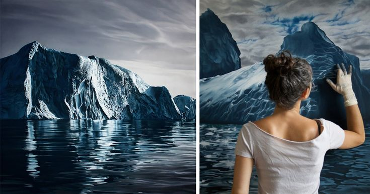At first glance, these images look like like photos of glaciers and icebergs afloat on tranquil and frigid seas. The truth is somewhat more interesting, however – they're enormous finger pastel drawings by U.S. artist Zaria Forman.