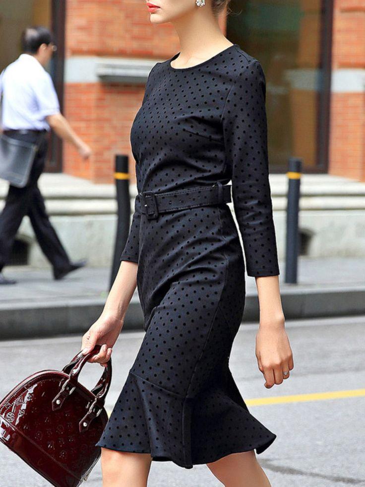 Cyanine Sea - Belted Ruffled Dot Print Midi Dress - Stylewe.com