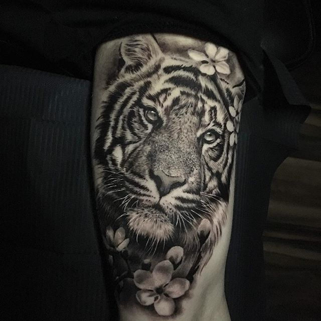 Ash Higham Tiger Tattoo Leg Tattoos Women Tiger Tattoo Hip Tattoos Women