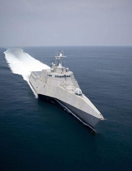The U.S. Navy's new littoral combat ship, USS Independence (LCS 2), is the lead ship for the Independence-class of littoral combat ships. She is the sixth ship of the U.S. Navy to be named for the concept of independence. With a trimaran hull, she carries a crew of 40 sailors; reaches speeds of 60mph; and weighs 2,700 tons. Independence is intended as a small assault transport that can take on flexible coastal missions as necessary. Independence is representative of the future of the U.S…