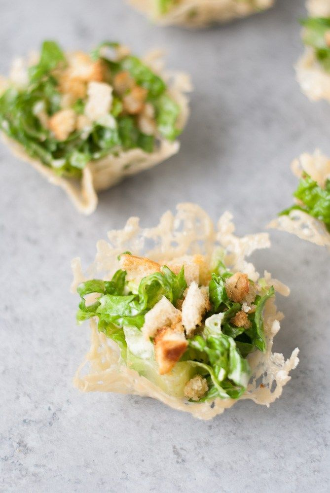 Mini Chopped Ceasar Salad Cups - omit croutons for low carb